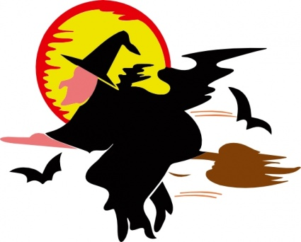 Bat Moon People Cartoon Broom Fly Flying Over Lakeside Witch.