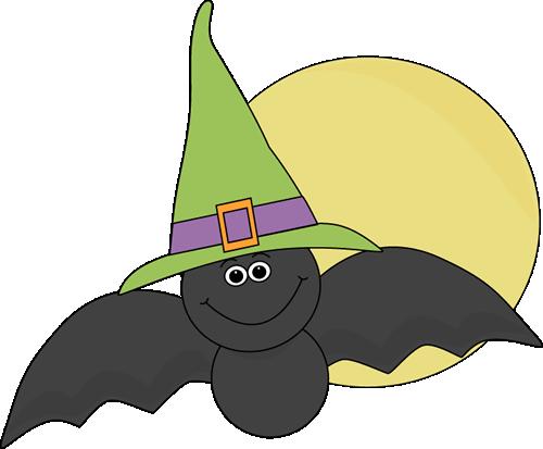 Halloween Bat and Full Moon.