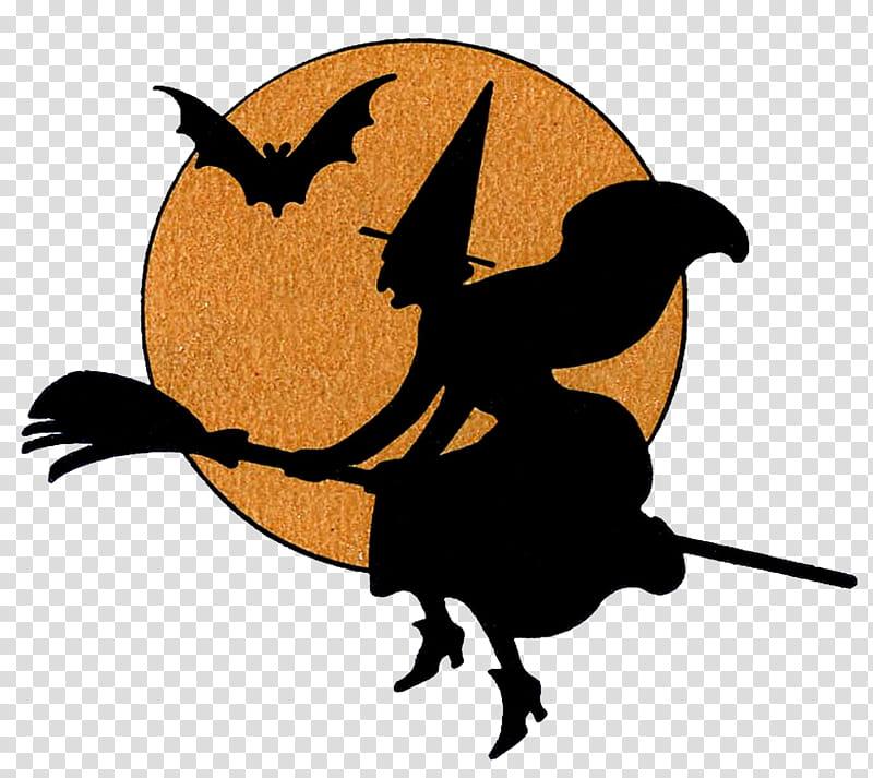 Recursos Halloween, black and orange flying witch on broom.