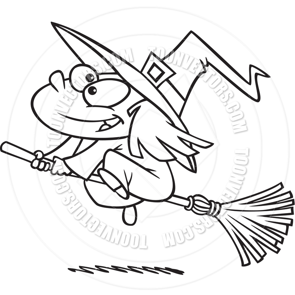 Black And White Clipart Witch.