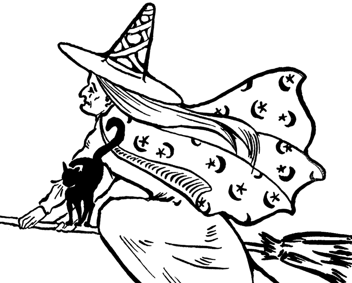 Witch clipart black and white 2 » Clipart Station.