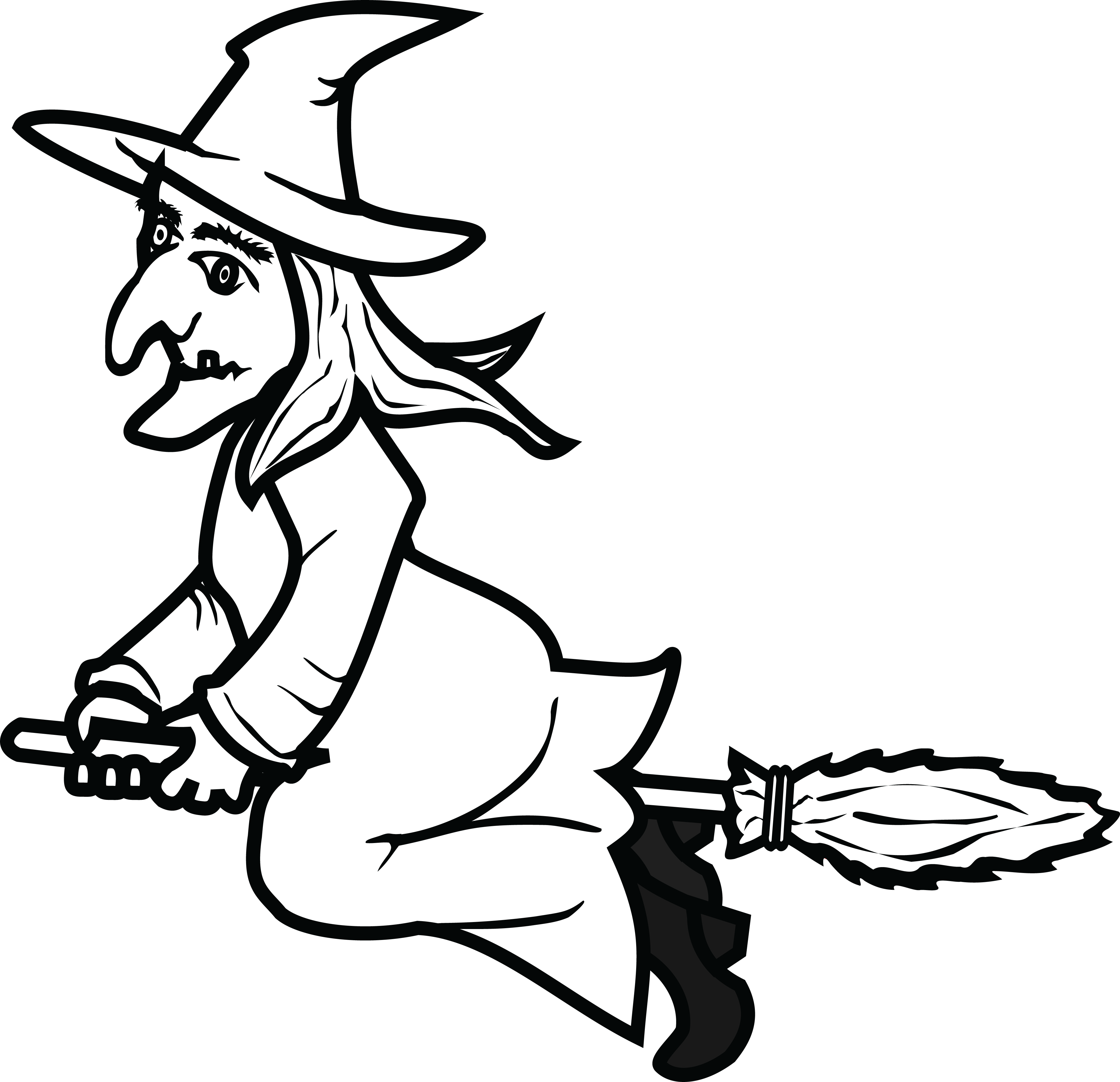 Clipart Witch Black And White.