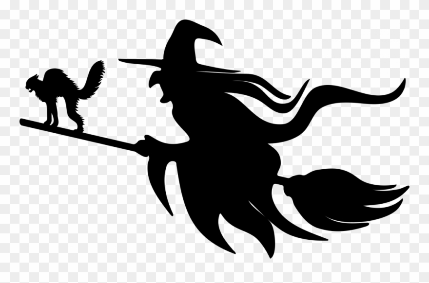 Witch And Cat Silhouette Clipart (#3712381).