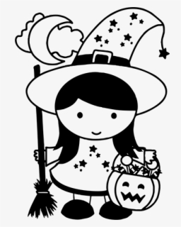 Free Halloween Witch Black And White Clip Art with No.