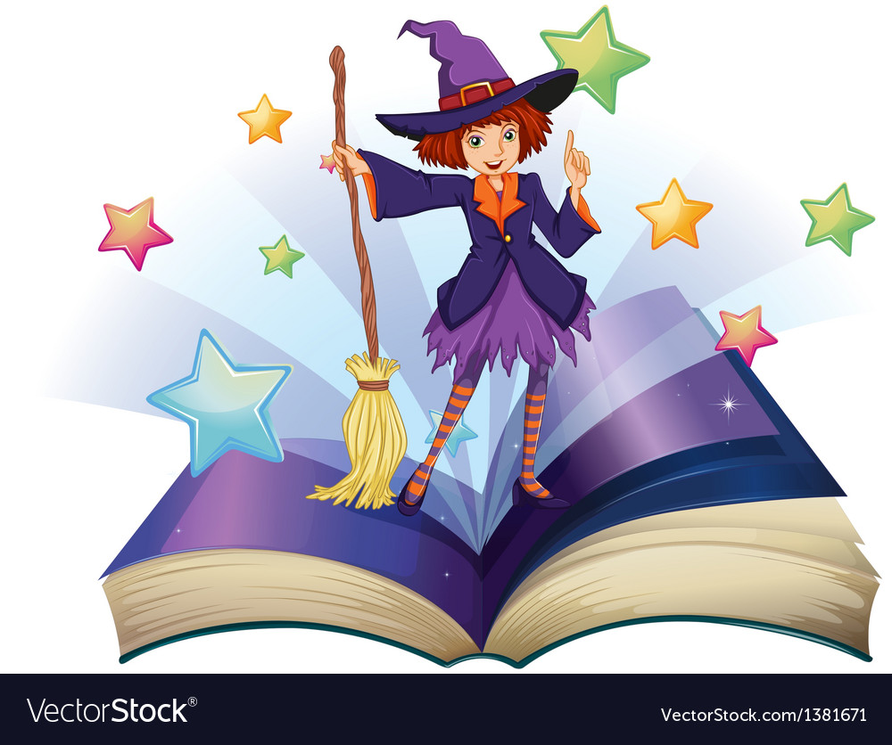 An open book with an image of a witch holding a.