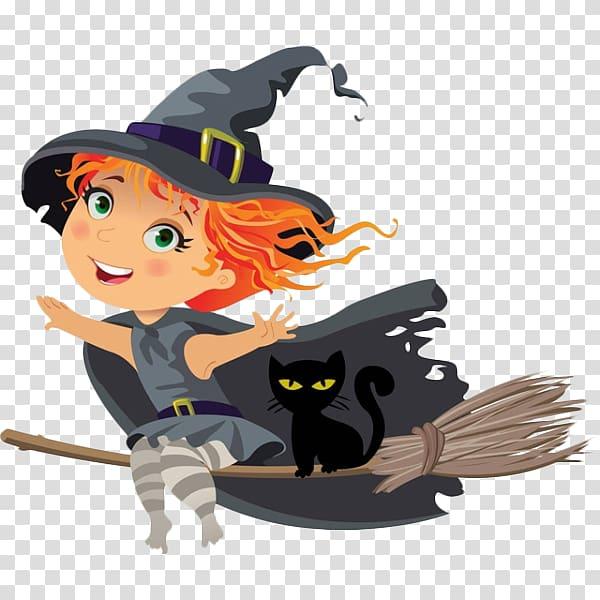 Witchcraft Cartoon Illustration, Cute little cartoon witch.