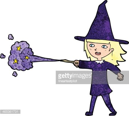 cartoon witch girl casting spell Clipart Image.