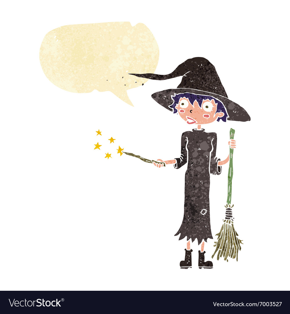 Cartoon witch casting spell with speech bubble.