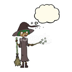 cartoon witch casting spell with thought bubble Clipart.