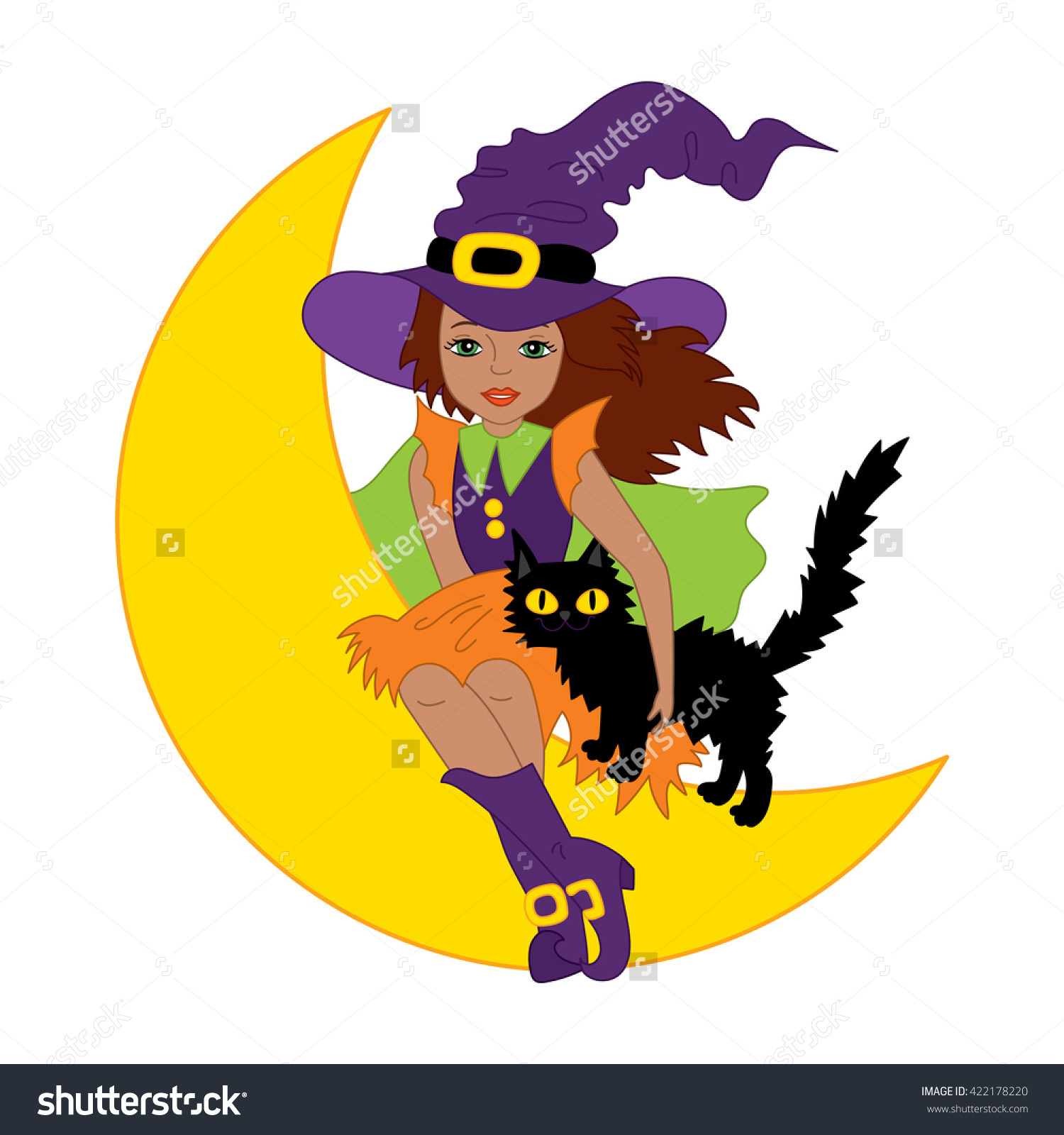 Vector African American Witch Cat Stock Vector 422178220.