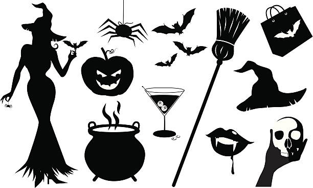 Witch And Cauldron Clipart Black And White.