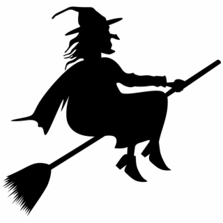 Broom Riding Witch Silhouette.