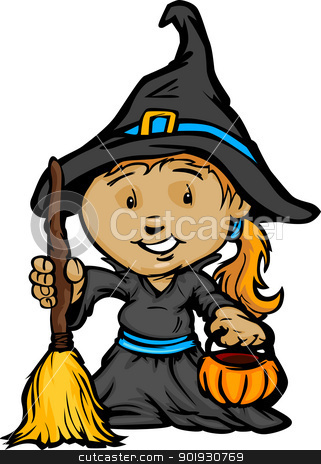 Cute Halloween Girl In Witch Costume Cartoon Vector.