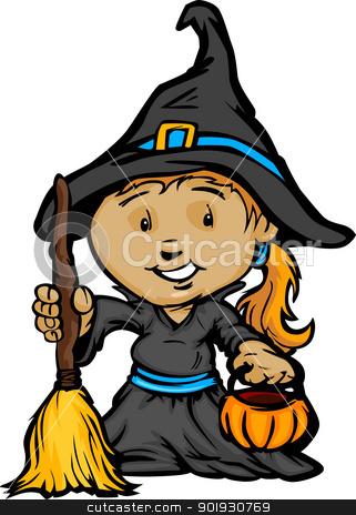 Cute Halloween Girl In Witch Costume Cartoon Vector.