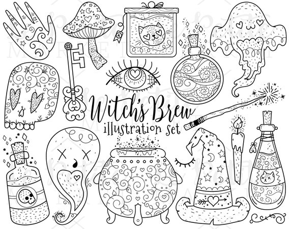 Witch\'s Brew Clipart Illustration Set, Magic Witchcraft Clip.