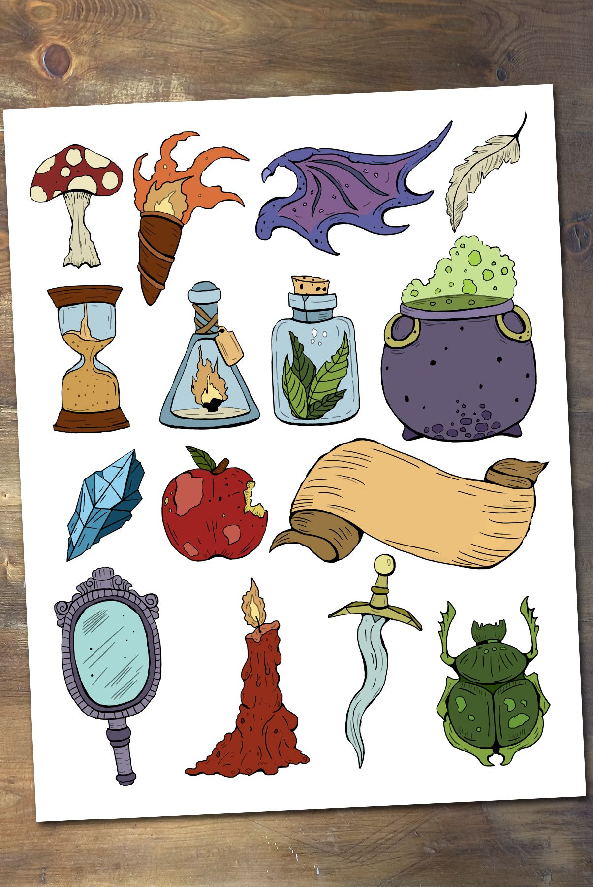 Alchemy and Witchcraft Scrapbooking Set, Printable Witch.