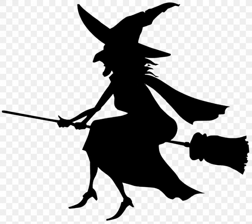 Witchcraft Black And White Silhouette Clip Art, PNG.