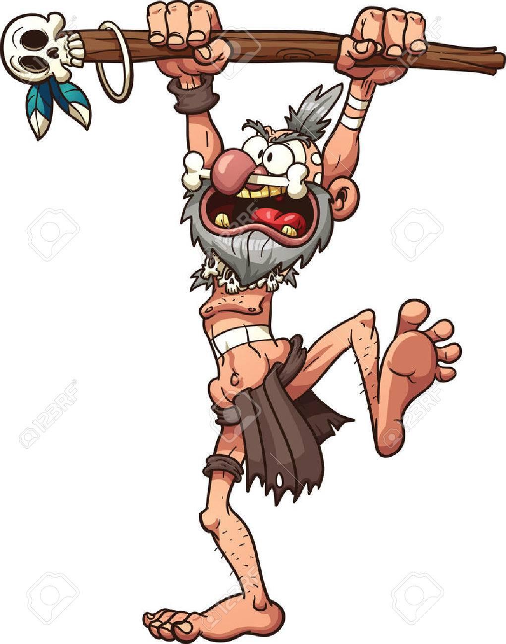 Cartoon prehistoric witch doctor Vector clip art illustration...