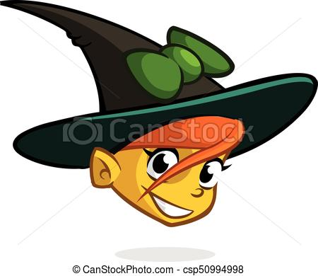 Cartoon witch face. Vector clip art illustration of Halloween witch head  icon.