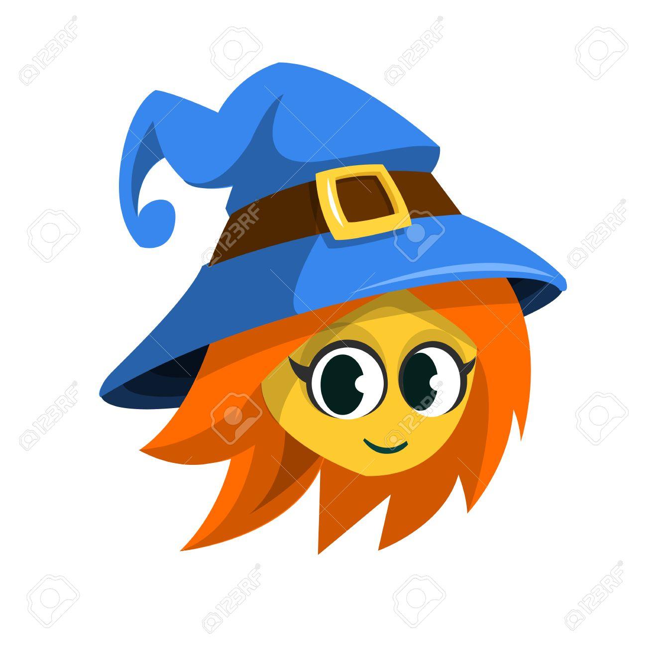 Cartoon witch face. Vector clip art illustration of Halloween...