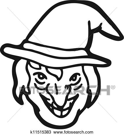Witch face doodle Clipart.