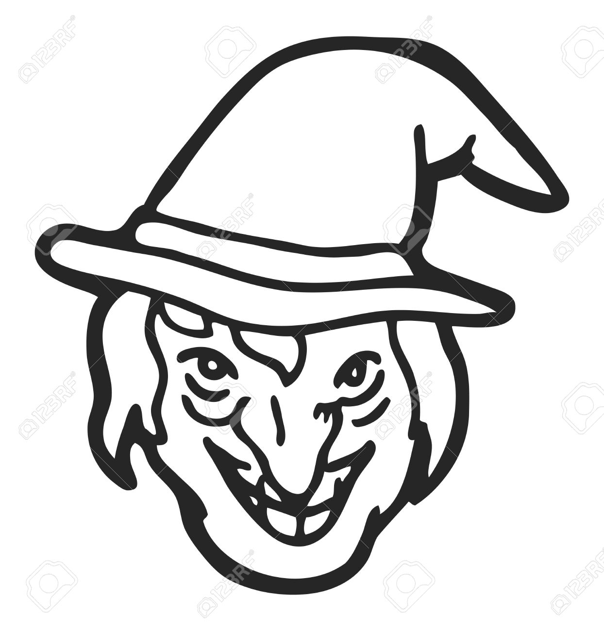 Witch Face Clipart Black And White.