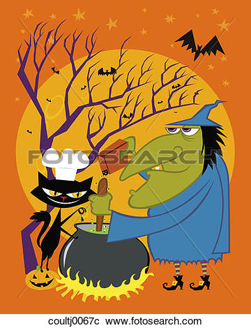 Stock Photography of witch, black cat, cauldron, potion, fire.