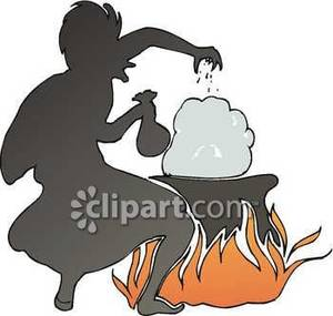 Witch Making a Potion on a Fire Royalty Free Clipart Picture.