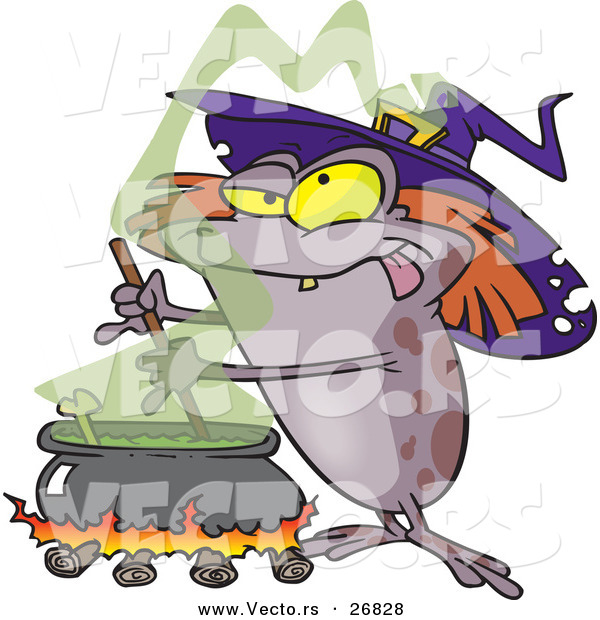 Vector of a Cartoon Halloween Witch Toad Mixing Stew Potion over.