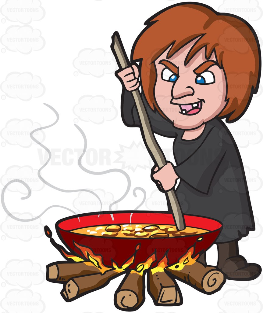 A Witch Stirring A Mixture In A Big Pot Over The Fire Cartoon Clipart.