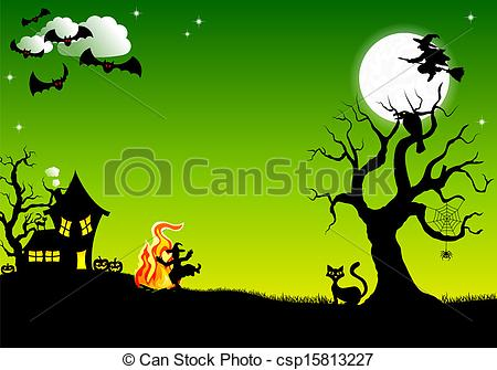 Vector Illustration of witch dancing around fire at halloween.