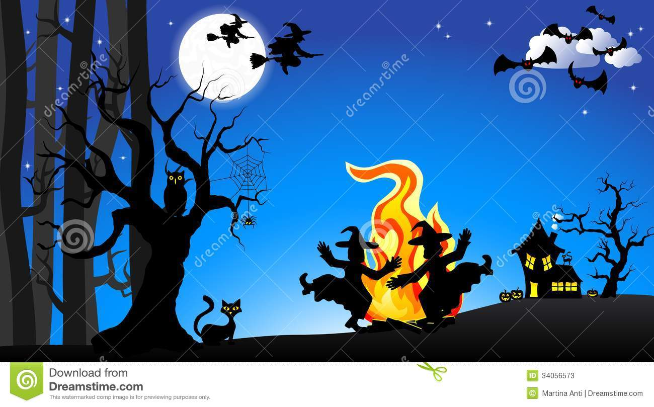Dancing Halloween Witch Stock Vector.
