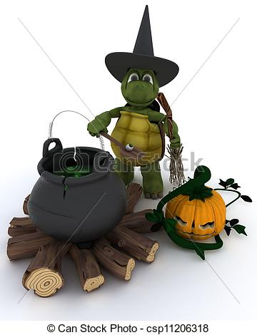 Clipart of Tortoise witch with cauldron of eyeballs on log fire.