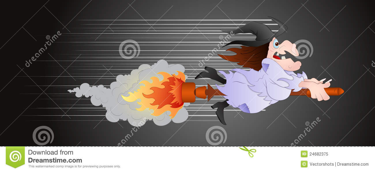 Witch On Fire Broomstick Royalty Free Stock Photo.