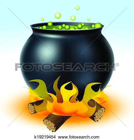 Clipart of Witch cauldron on fire k19219454.