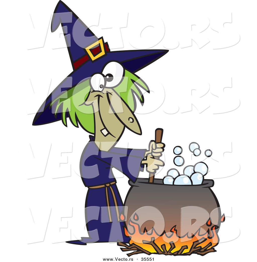 Vector of a Cartoon Witch Mixing Potion in Cauldron over a Fire on.