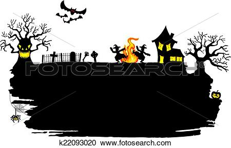 Clipart of witch dancing around fire at halloween k22093020.