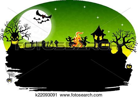 Clipart of witch dancing around fire at halloween k22093091.