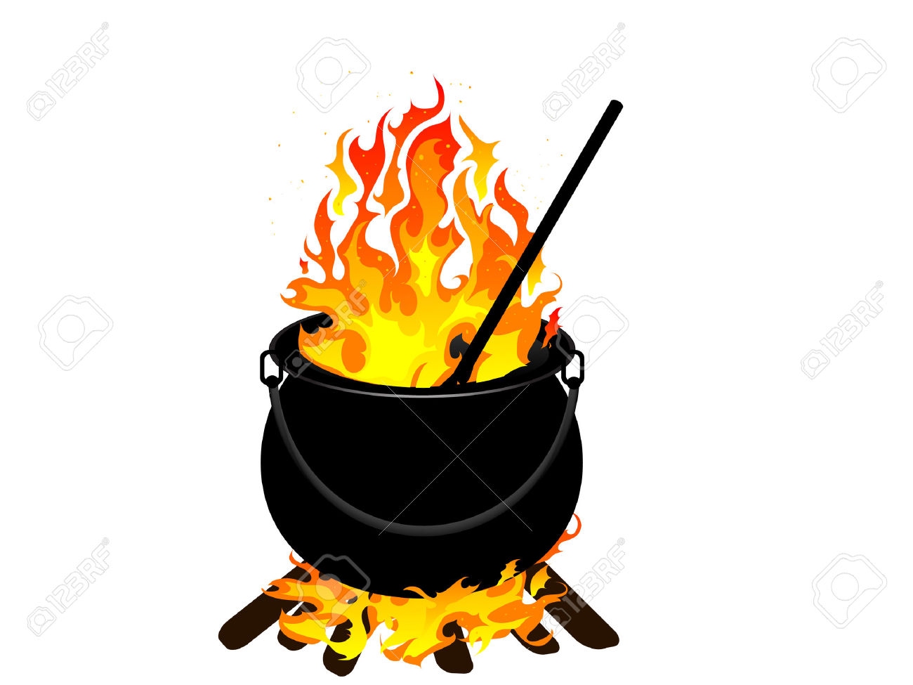 Witches Cauldron With Flames.