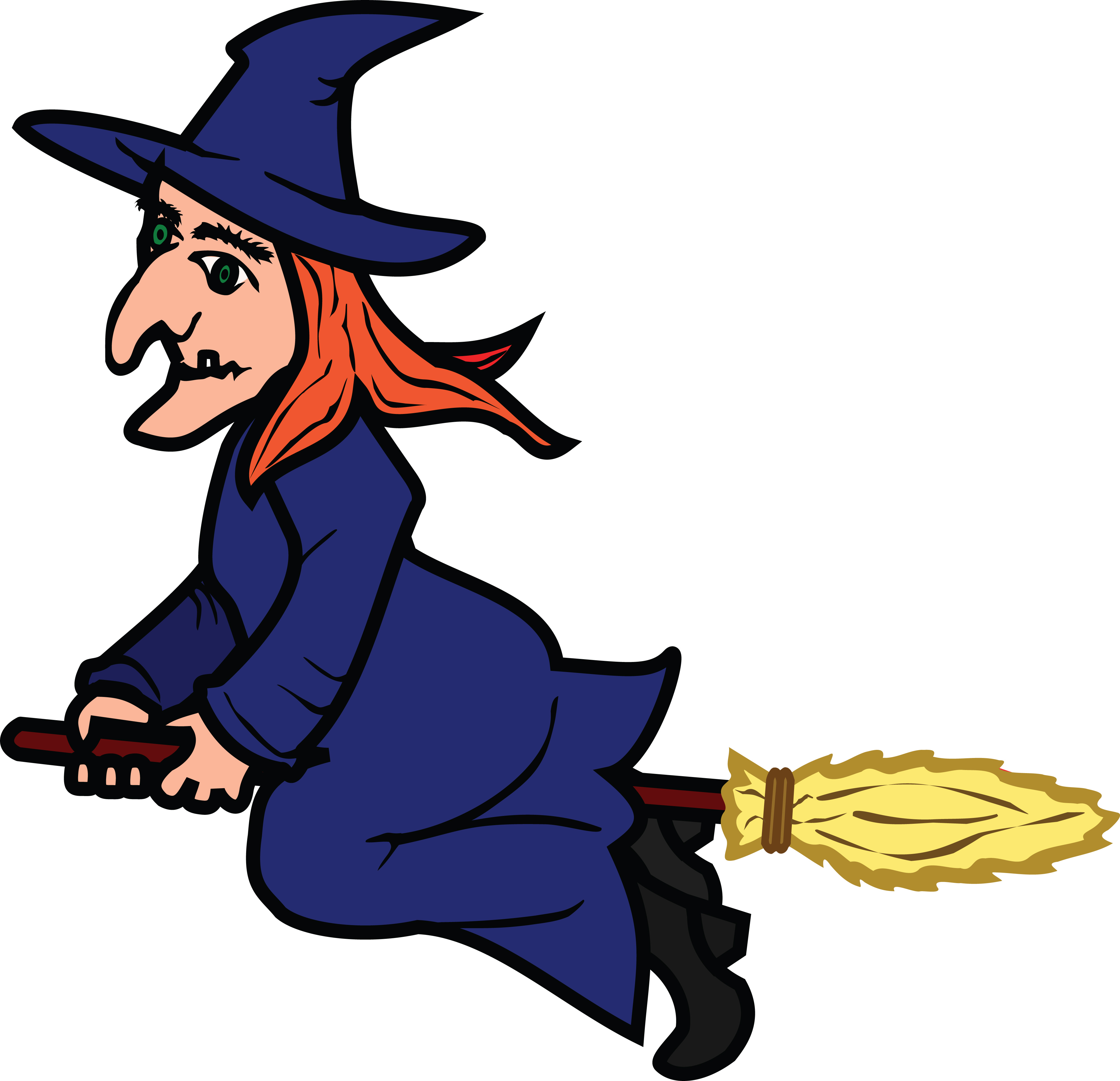 Witch Flying On Broom Clipart.