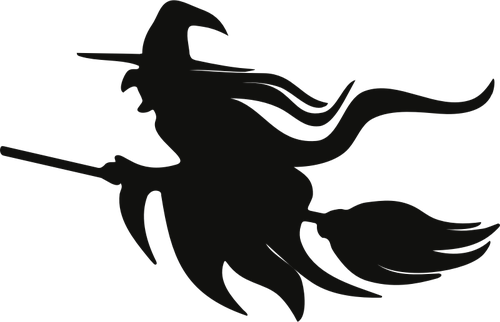 Witch on broomstick silhouette in 2019.