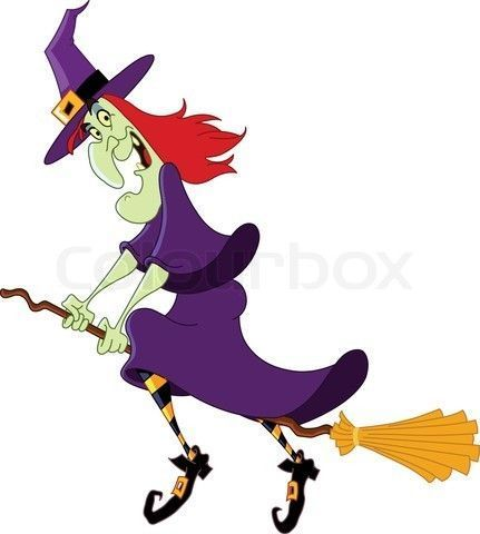 A Witch On Broom Stick.