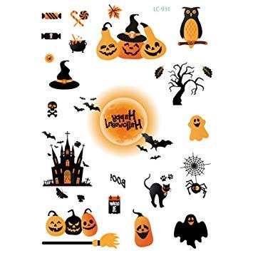 Amazon.com : Halloween Tattoo, Halloween Cute Pumpkin Ghost.