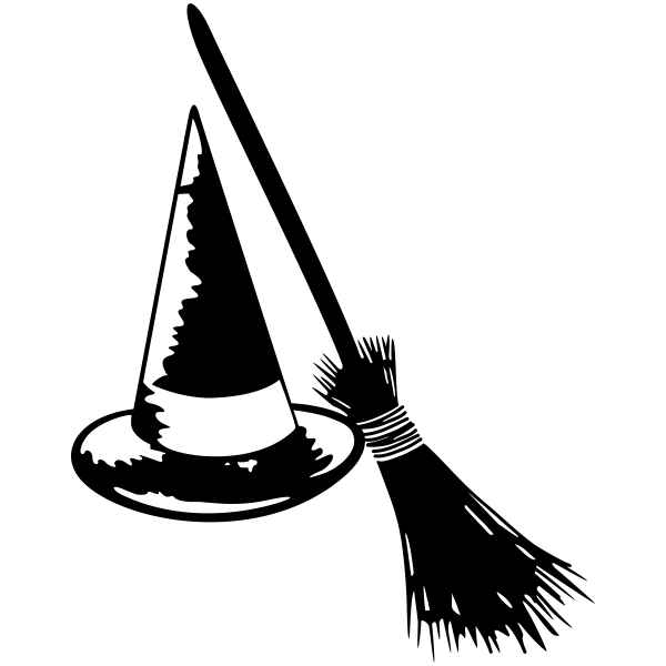 Witch\'s Hat and Broom Craft Stamp.