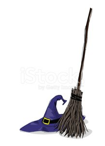 witch hat and broomstick Clipart Image.