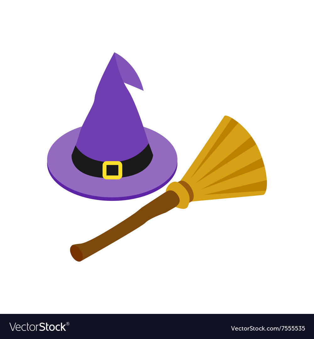 Witch hat and broom isometric 3d icon.