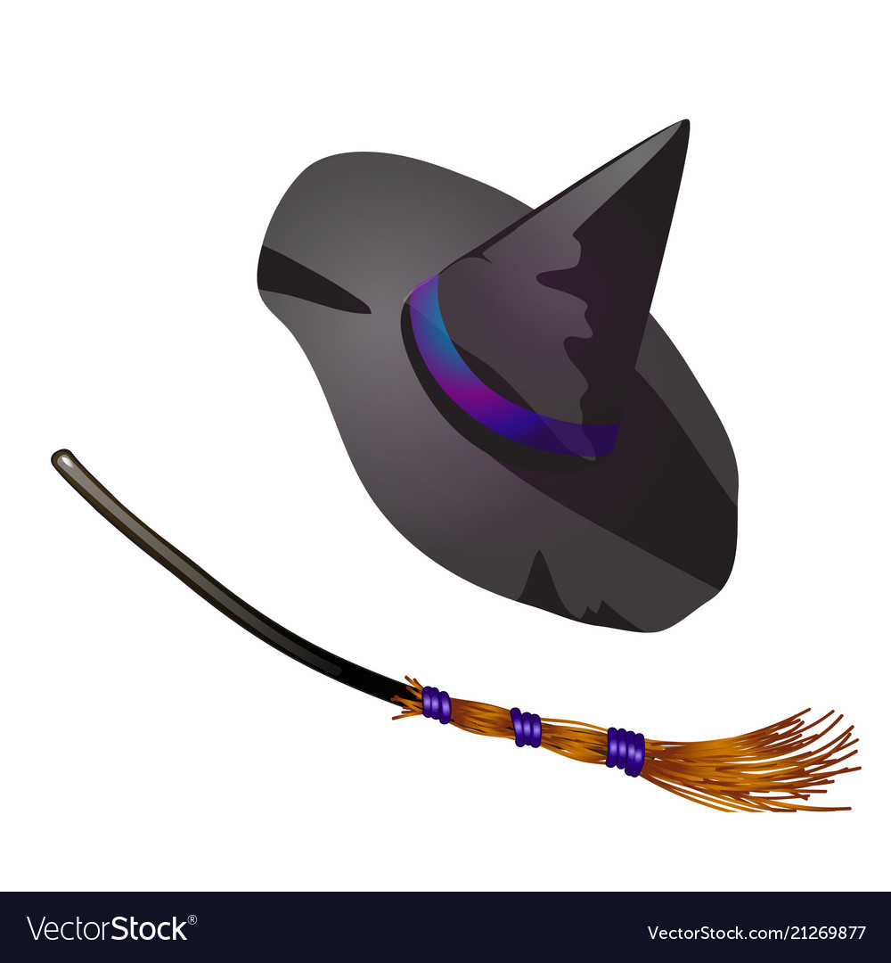 Black halloween witch hat and broom sketch for.