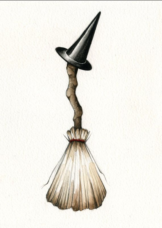 HALLOWEEN BROOM AND WITCH HAT *.