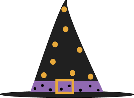 Polka Dot Witch Hat Clip Art.