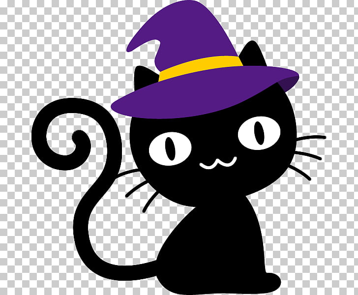 Black cat Halloween Hat, plum blossom PNG clipart.